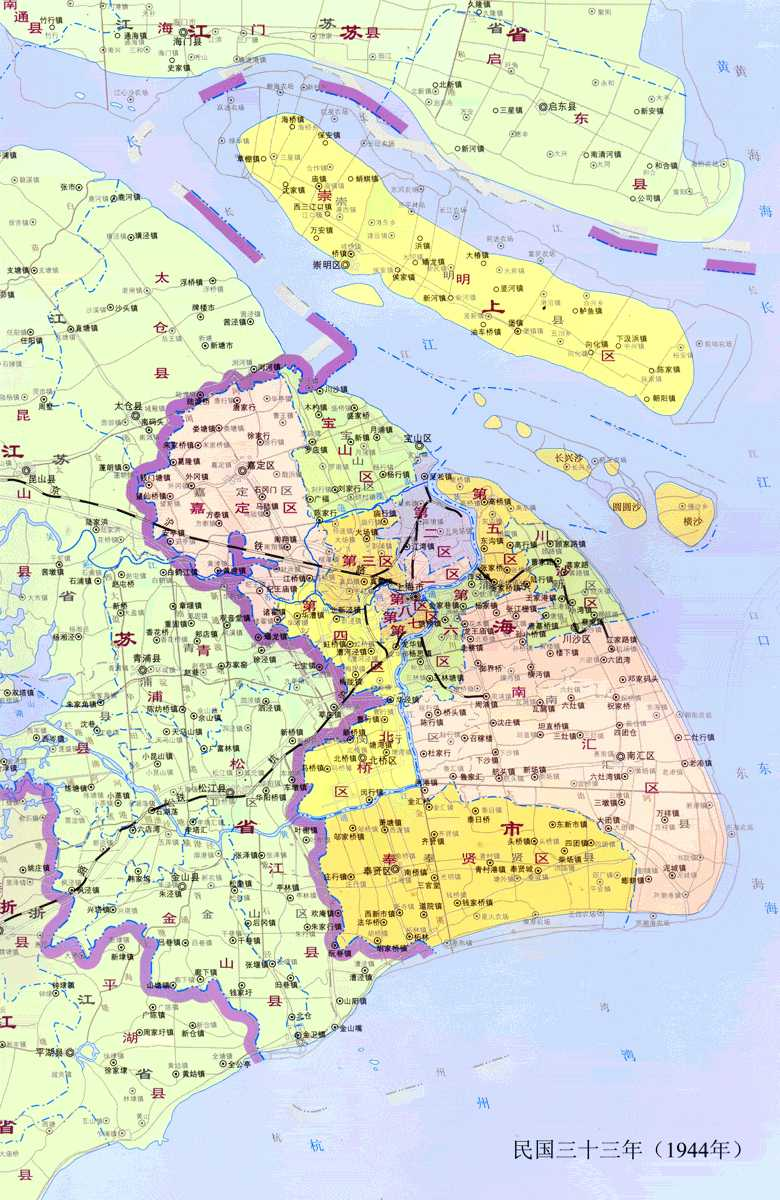 民国三十三年(1944年)上海地图