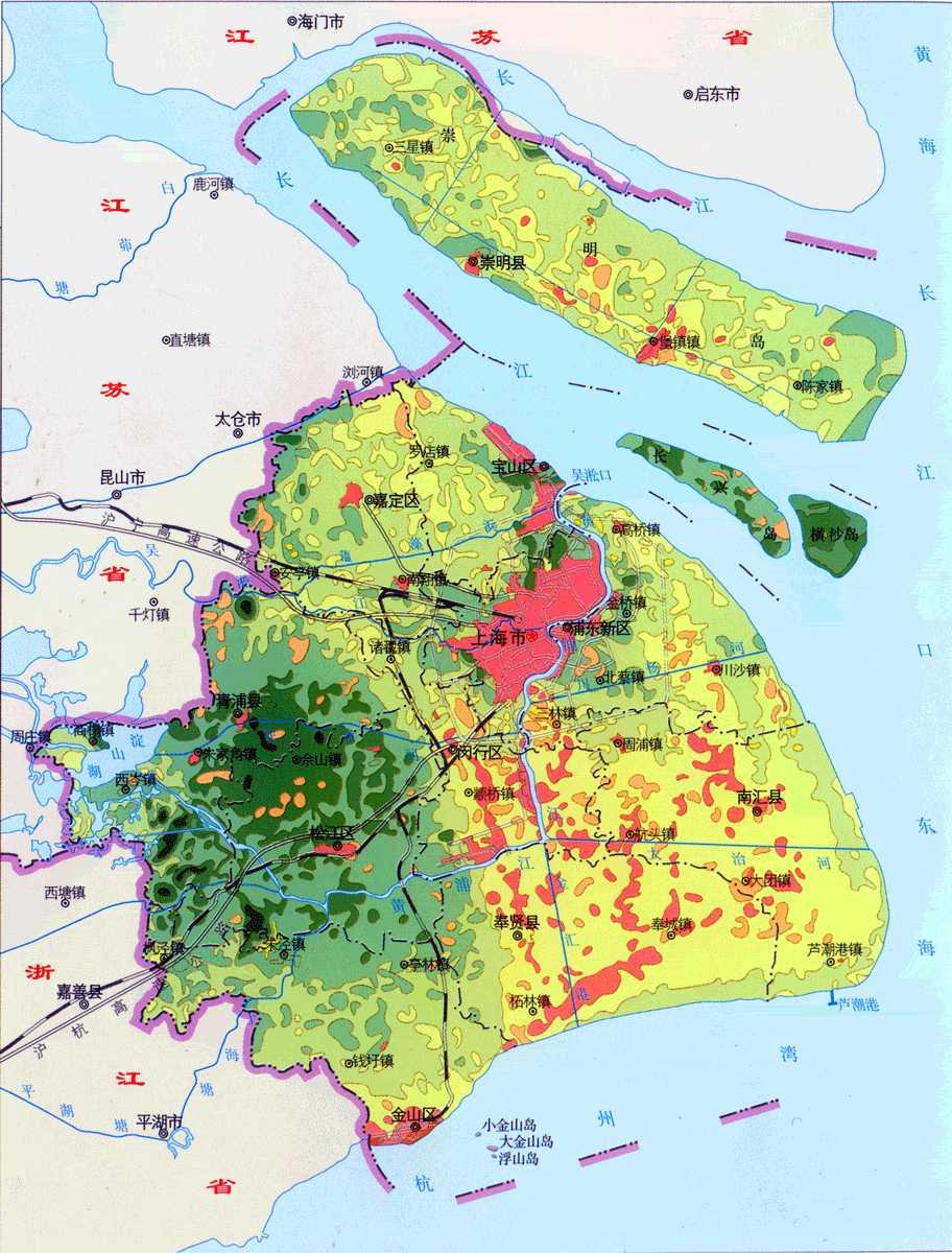 上海地势地貌类型 上海地图